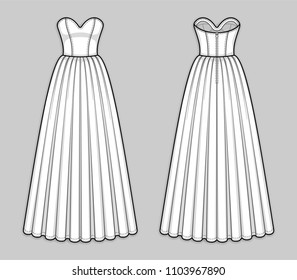 Floor-length corset bodice dress with panel lines, strapless sweetheart neckline, seam at waist, back zip closure, flared skirt with pleats. Back and front. Technical flat sketch. Vector illustration.