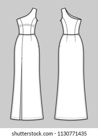 Floor-length fitted one shoulder dress with asymmetrical neckline, hidden side closure, seam at waist, front high slit. Sleek and sexy evening gown. Back and front. Technical flat sketch, vector.