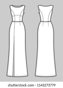 Floor-length fitted sleeveless dress with boat neckline, hidden side closure, seam at waist, front high slit. Sleek and sexy evening gown. Back and front. Technical flat sketch, vector.