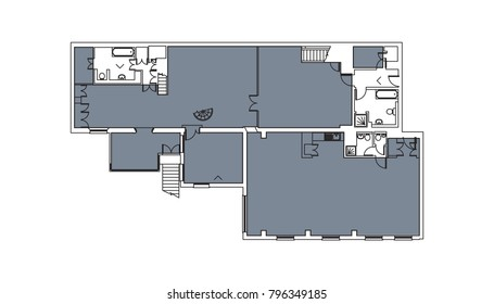 floorplan drawings with empty spaces