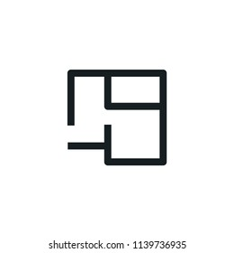 Floorplan Modern Simple Outline Vector Icon