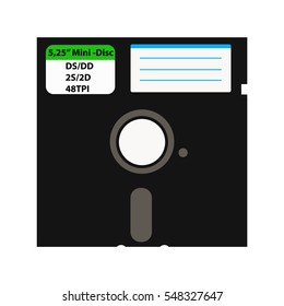 The floppy disk in the 5.25-inch is used in older computers. It can be used as a symbol of the history of technology and data storage. On isolated white background.