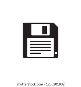 Floppy disk - black icon on white background vector illustration for website, mobile application, presentation, infographic. Diskette savecon cept sign. Graphic design element.