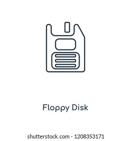Floppy Disk concept line icon. Linear Floppy Disk concept outline symbol design. This simple element illustration can be used for web and mobile UI/UX.
