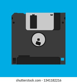 Floppy disk diskette vintage black backup device obsolete vector icon. Computer memory drive magnetic square datum