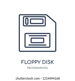 Floppy disk icon. Floppy disk linear symbol design from Programming collection. Simple outline element vector illustration on white background.