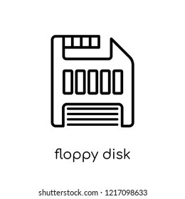 Floppy disk icon. Trendy modern flat linear vector Floppy disk icon on white background from thin line Programming collection, editable outline stroke vector illustration