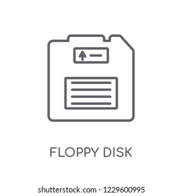 Floppy disk linear icon. Modern outline Floppy disk logo concept on white background from Programming collection. Suitable for use on web apps, mobile apps and print media.