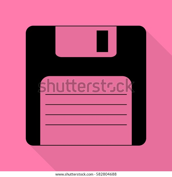 Floppy disk sign. Black icon with flat style shadow path on pink background.