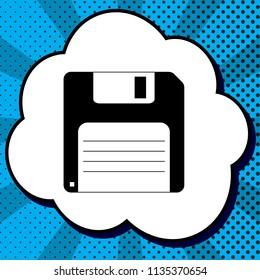 Floppy disk sign. Vector. Black icon in bubble on blue pop-art background with rays.
