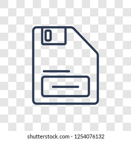 Floppy Disk Upside Down icon. Trendy linear Floppy Disk Upside Down logo concept on transparent background from hardware collection