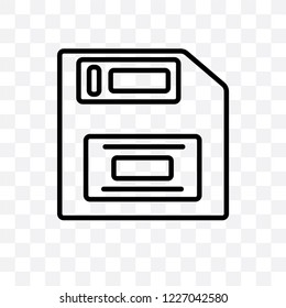 Floppy disk vector linear icon isolated on transparent background, Floppy disk transparency concept can be used for web and mobile