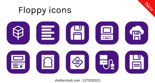 floppy icon set. 10 filled floppy icons. Simple modern icons about  - Jungle disk, Left alignment, Floppy disk, Old computer, Diskette, Hard drive, Spark page
