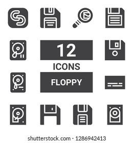 floppy icon set. Collection of 12 filled floppy icons included Hard disk, Diskette, Hard disc, Subtitles, Hard drive, Floppy disk, Safecopy backup, Search mail