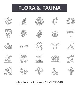 Flora and fauna line icons, signs set, vector. Flora and fauna outline concept, illustration: fauna,flora,animal,nature,design