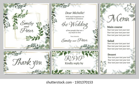 Flora greeting card for a wedding invitation, thank you, rsvp, menu. Green elegant leaves. Green plants, the flora elements of design. All elements are isolated.