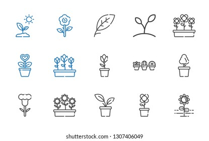 flora icons set. Collection of flora with flower, plant, flowers, tulip, tulips, leaf, sprout. Editable and scalable flora icons.