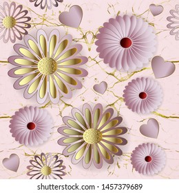 Floral 3d vector seamless pattern. Rose gold ornamental marple style background. Repeat pink cracked backdrop. Surface beautiful 3d flowers, love hearts. Textured ornament. Delicate ornate design.
