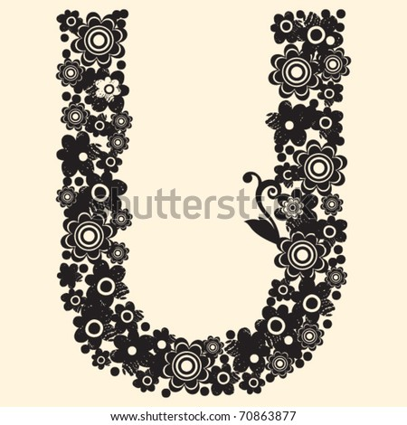 Floral Abc Decorative Letter U Stock Vector Royalty Free 70863877
