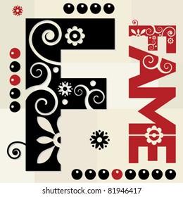 floral ABC, ornamental letter F