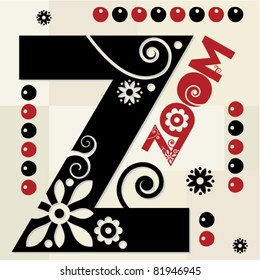 floral ABC, ornamental letter Z