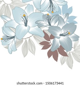 Floral abstract background frame with hand-drawn lily flowers. Element for invitations, greetings, cards.