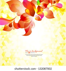 Floral abstract background with glossy elements