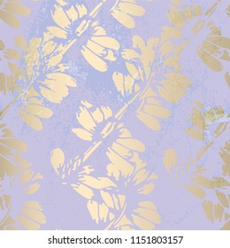 Floral abstract foil gold blush patina background. Chic trendy print with botanical motifs