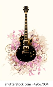 Floral abstract with guitar on a white background