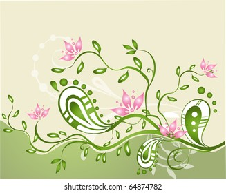 Floral  abstract illustration  for the creative design.
