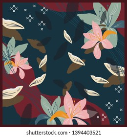 Floral abstract pattern for silk scarf design. Hijab fashion