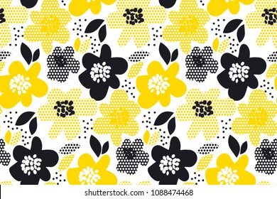 Floral abstract seamless pattern. Concept geometric flower repeatable motif for background, for background, fabric, wrapping paper. Yellow and black stock vector illustration.
