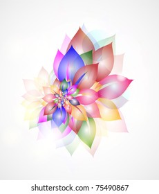 Floral abstract vector background with colorful  leaves
