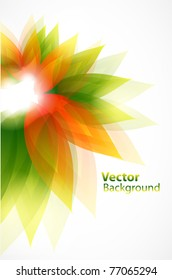 Floral abstract vector background with green and orange leaves