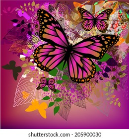 Floral abstraction with butterflies on a white burgundy background. Vector