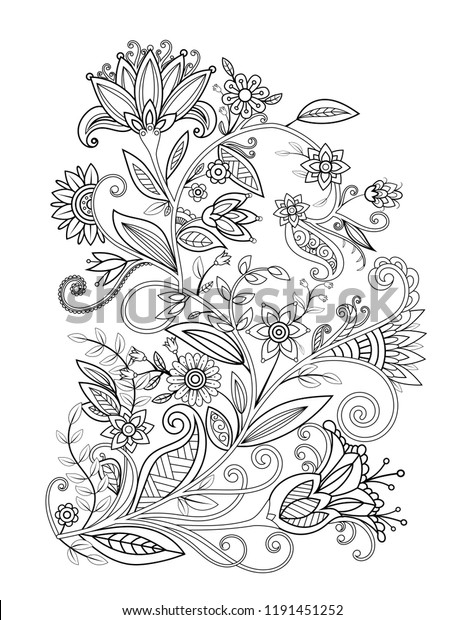 floral adult coloring page black 600w