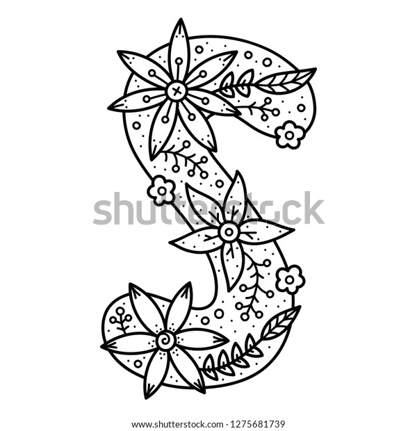 Floral Alphabet Black White Doodle Letter Stock Vector