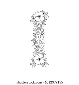 Floral alphabet letter I coloring book for adults. vector illustration.Hand drawn.Doodle style.