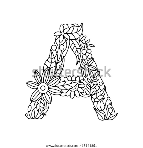 Floral Alphabet Letter Coloring Book Adults Stock ...