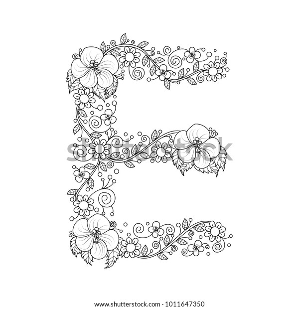 Floral Alphabet Letter E Coloring Book Stock Vector Royalty Free 1011647350