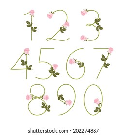 Floral alphabet. Pink roses. Numbers 0-9