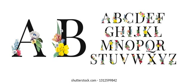 Floral Alphabet Set. Unique collection for wedding invites decoration and many other concept ideas.