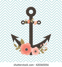 Floral anchor on chevron background. Invitation, flyer, card or poster template.