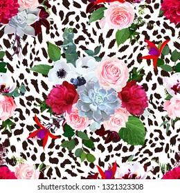 Floral animal seamless vector design print. Leopard texture and flower bouquets. Pink rose, burgundy red peony, white anemone, succulent, exotic orchid, fuchsia, dahlia.Trendy fashion stylish pattern.