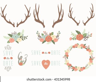 Floral Antlers Elements. Perfect for card invitation, greeting card, wedding, mother's day and many more.