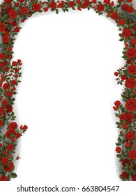 Floral arch of roses. Detailed vector illustration for greeting card or decorating the entrance. On white background.