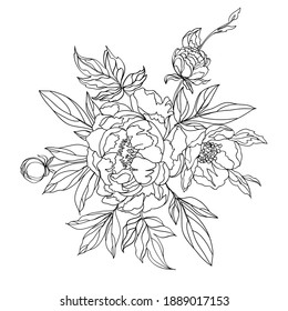 Floral arrangement of blooming peonies for decorating a greeting cards. Vector illustration of floral bouquet.