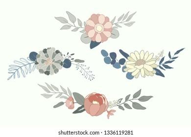 Floral arrangement, Flower illustration vector perfect for wedding, cards, poster.