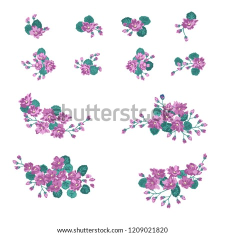 Floral Arrangements Small Wild Flowers Set Stock Vector