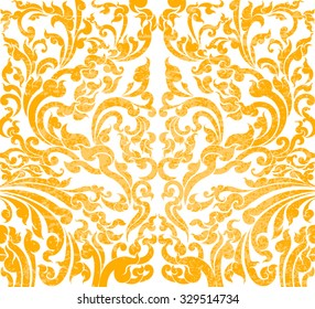 Floral art gold color pattern on a white background